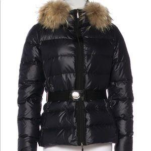 Moncler black jacket w/ belt, size 2 fits 0 to 6